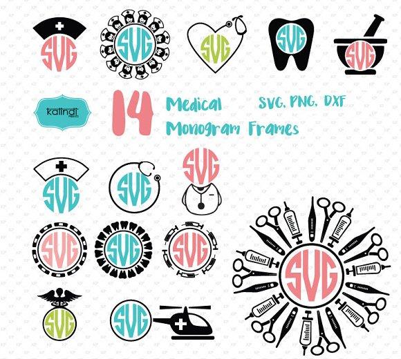 Nurse, medical monogram frames svg ~ Illustrations ~ Creative Market