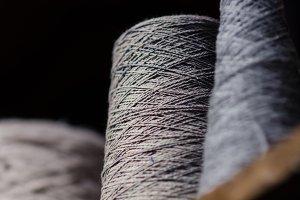 Gray Yarn Spools - Vertical