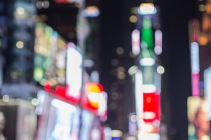 Blurred Time Square at night