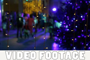 New year disco near Christmas tree