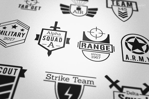 military army style badges logos logo templates on creative market. Black Bedroom Furniture Sets. Home Design Ideas
