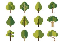 Green summer forest tree icons
