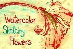 Watercolor Sketchy Flowers II