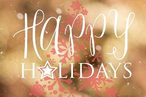 Happy holidays golden bokeh card