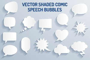 Vector Shaded Comic Speech Bubbles