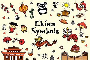 Cartoon Set - china symbols