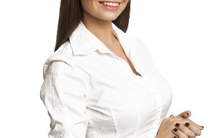 Businesswoman in white blous