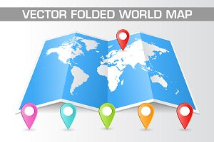 Vector Folded World Map