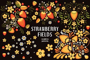Strawberry fields in Khokhloma style