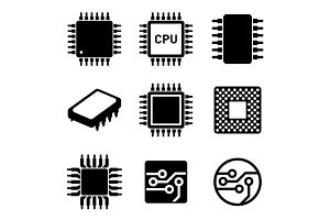 CPU Microprocessor and Chips Icons