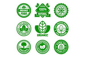 Organic Food Green Labels Set