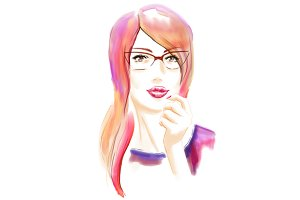 Watercolor woman in glasses portrait