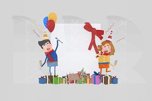 3d illustration. Couple banner.
