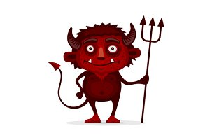 Red Halloween Devil with Trident