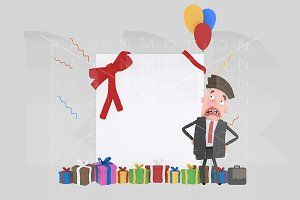 3d illustration.Office worker banner