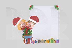 3d illustration. Couple banner