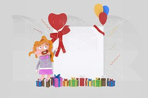 3d illustration. Little girl banner