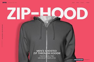 Mens Ghosted Zip Hoodie Templates