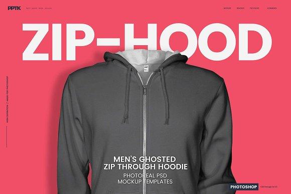 Mens Ghosted Zip Hoodie Templates