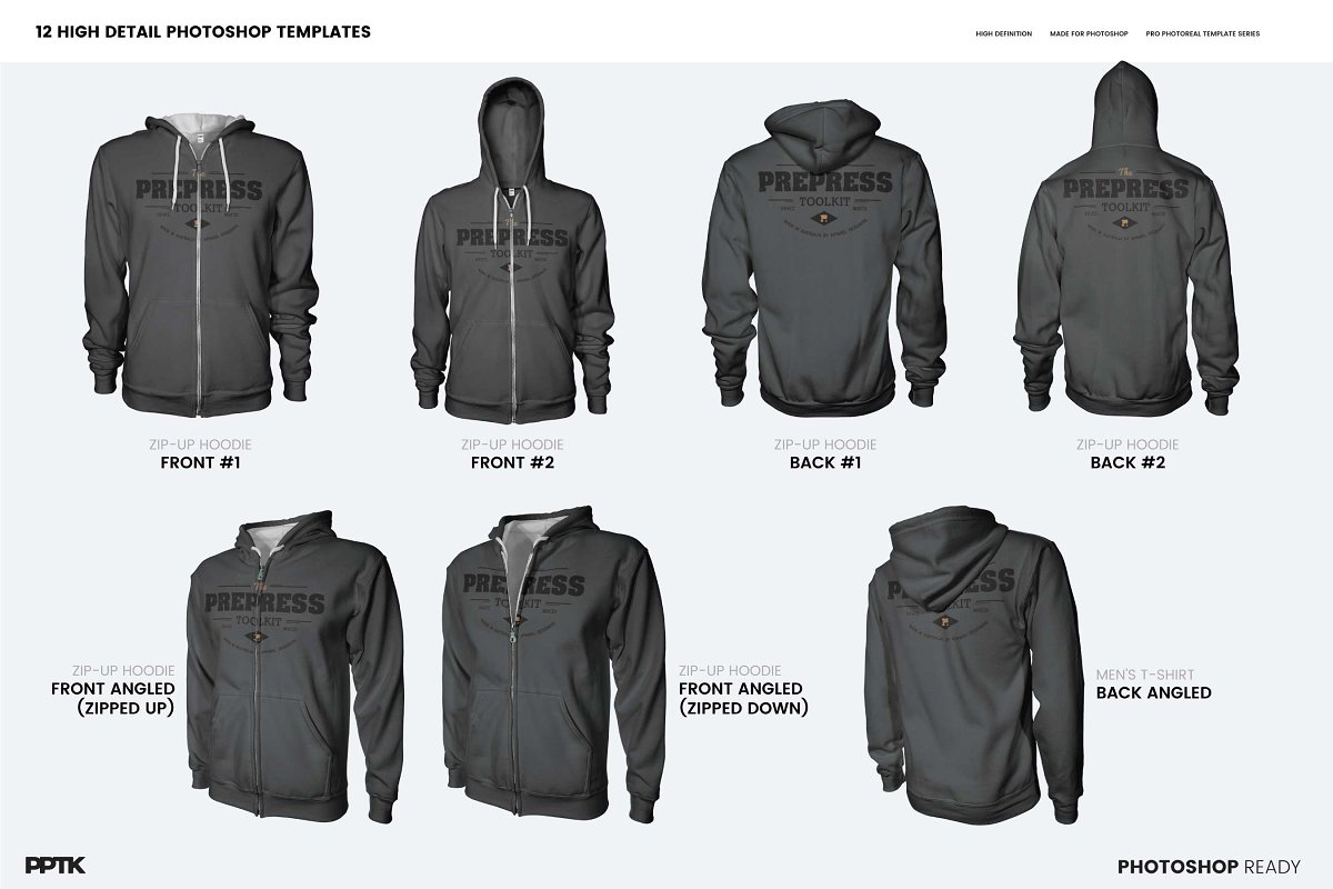 5438fcece7d2 Mens Ghosted Zip Hoodie Templates ~ Product Mockups ~ Creative Market