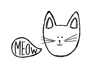 Cat meowing sketch