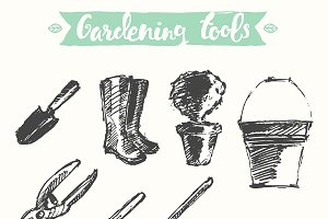Hand drawn gardening tools