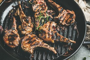 Grilled lamb meat chops
