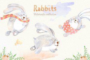 Watercolor Rabbits Collection