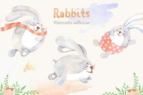 Watercolor Rabbits Collection -45%
