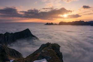 Norway. Island Senja. Misty sea. Web