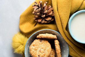 Cookies bowl in a soft winter scarf. Vertical