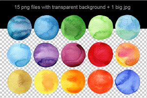 15 PNG circles watercolor