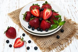 Fresh strawberries and blueberries