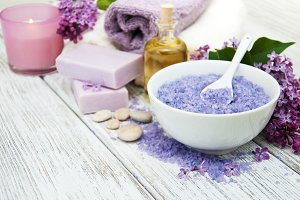 Spa products with lilac flowers