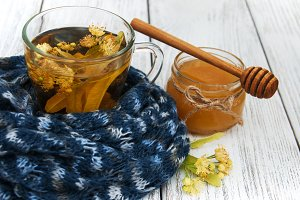 Scarf and Linden tea