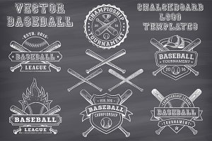 Vector Baseball Chalk Logo Templates