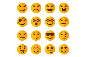 Flat Style Smile Emotion Icons Set