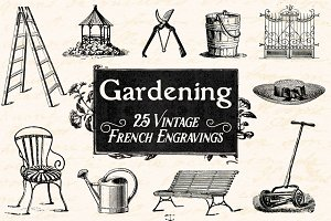 25 Vintage French Garden Engravings