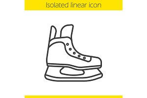 Ice skate linear icon. Vector