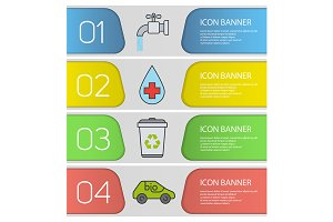 Ecology banner templates set. Vector