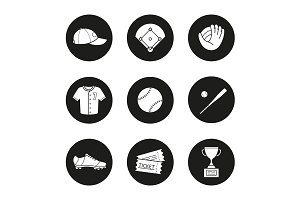 Baseball accessories 9 icons. Vector