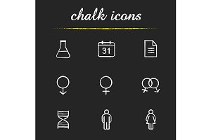 Science research. 9 icons. Vector
