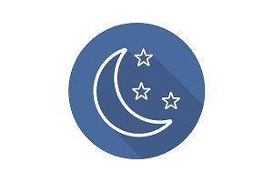 Moon and stars icon. Vector