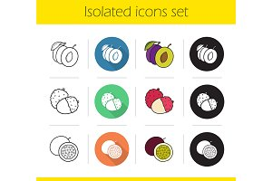 Fruit pairs. 12 icons. Vector