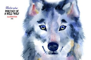 Watercolor wild wolf portrait