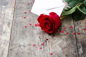 Rose, envelope and hearts