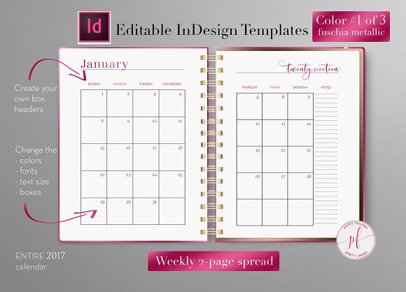 Monthly Planner Indesign Template Stationery Templates Creative Market