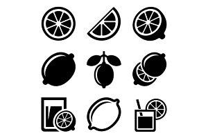 Lemon and Lime Icons Set