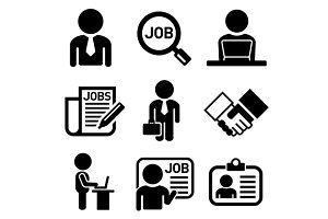 Human Job Resources Icons Set