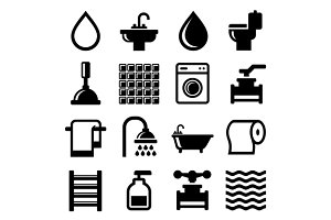 Bathroom and Water Icons Set